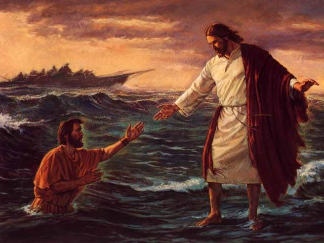 Jesus and Peter Walking on Water